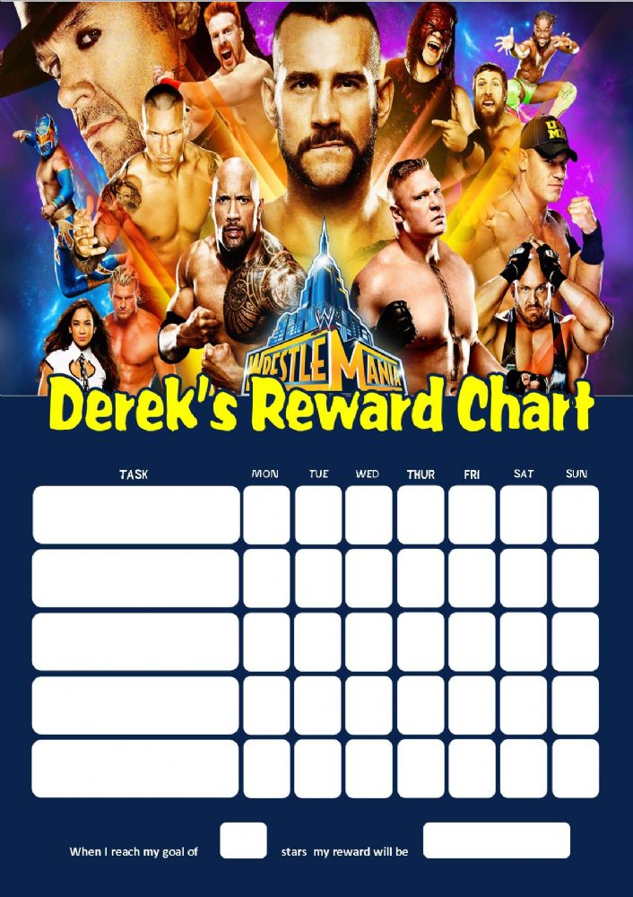 personalised wrestlemania wwe reward chart adding photo